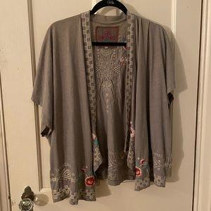 Johnny Was Embroidered Kimono Grey Medium